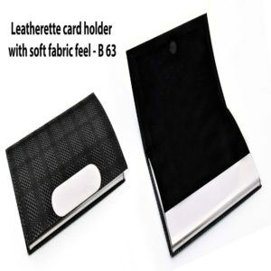 B63 – Leatherette Card Holder With Soft Fabric Feel
