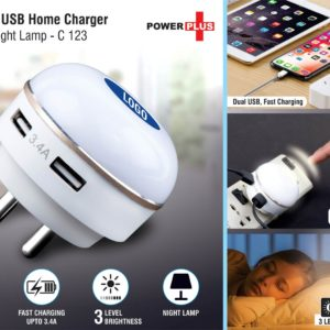 C123 – Dual USB Fast Charger With Night Lamp