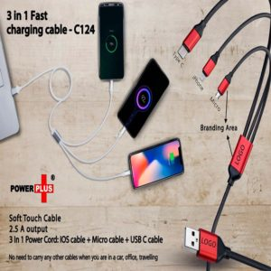 C124 – 3 In 1 Fast Charging Soft Touch Cable | 2.5A Output (For Micro, Type C And IOS)