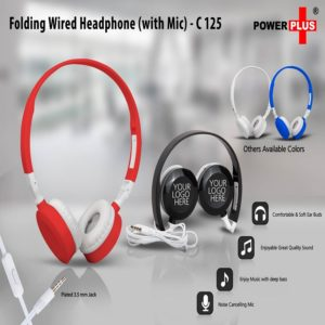 C125 – Folding Wired Headphone Set (With Mic)