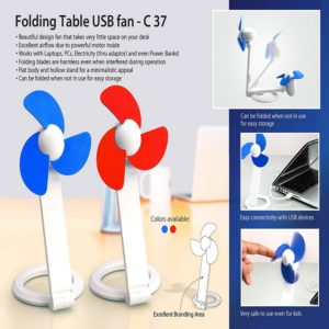 C37 – Folding Table USB Fan With Safety Blades And USB Cable