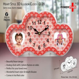 D28 – Heart Style 3D Illusion Clock With Dual Photo Frame