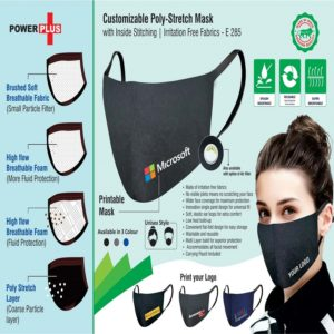 E285 – Customizable 4 Layer Poly-Stretch Mask With Inside Stitching | Irritation Free Fabrics | Carrying Pouch Included