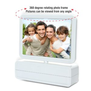 Clock with rotating dual photo frame | 3.5 x 5 size
