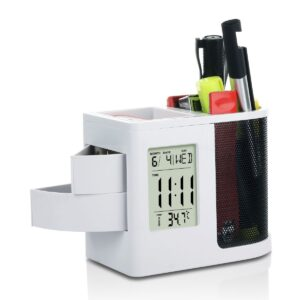 Clock with tumbler, stationary holder and slide out drawers