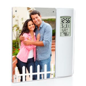 Clock with temperature and magnetic photo frame | 4 x 6 size