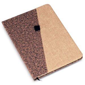 Brown PU with Linen A5 notebook (Slash design)