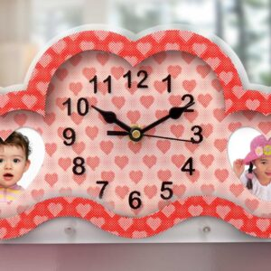 Illusion Clock: Heart Style 3D Illusion Clock With Dual Photo Frame