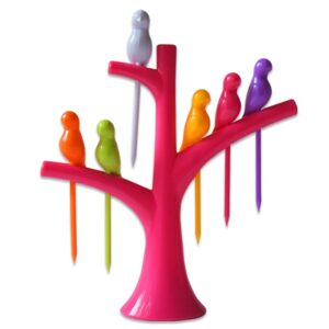 Birdy-Fork: Birdies On A Tree Fruit Fork Set